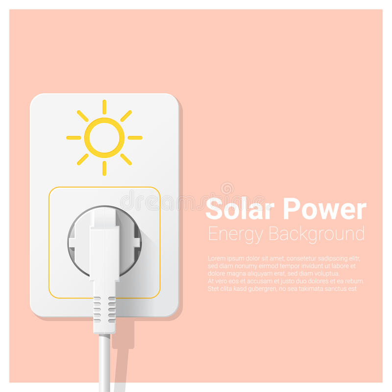 Green energy concept background with solar power and electric plug. Vector , illustration stock illustration