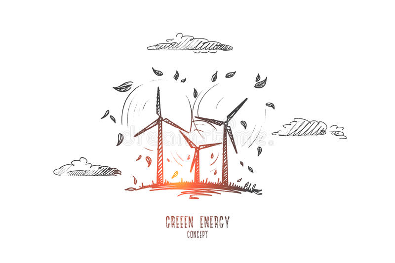 Green energy concept. Hand drawn isolated vector. stock illustration