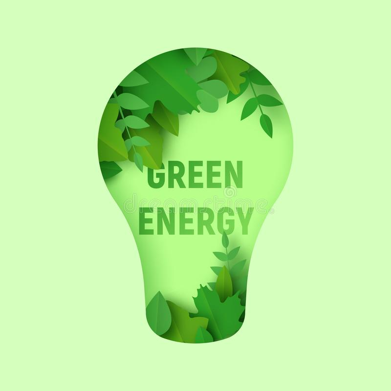 Green energy 3d abstrat paper art illustration with lamp and paper cut green leaves. Ecology and nature concept. Think green 3d abstrat paper art illustration royalty free illustration