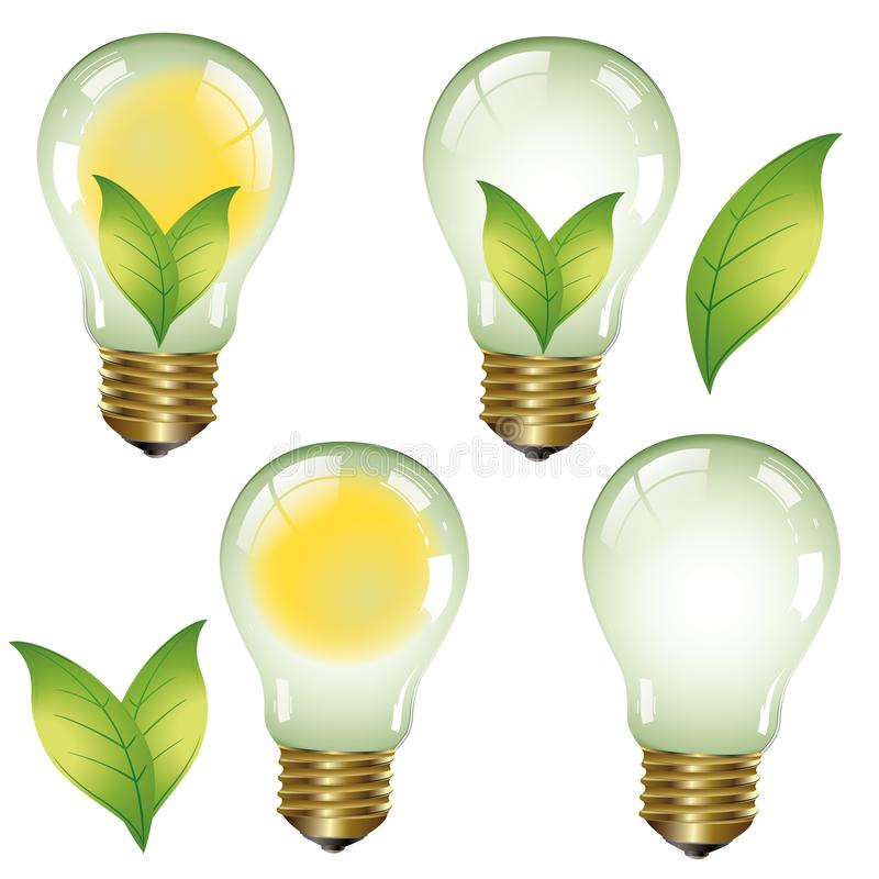 Green energy - Ecological concept - Eco collection Logo. Green energies. Light bulb with green elements vector illustration