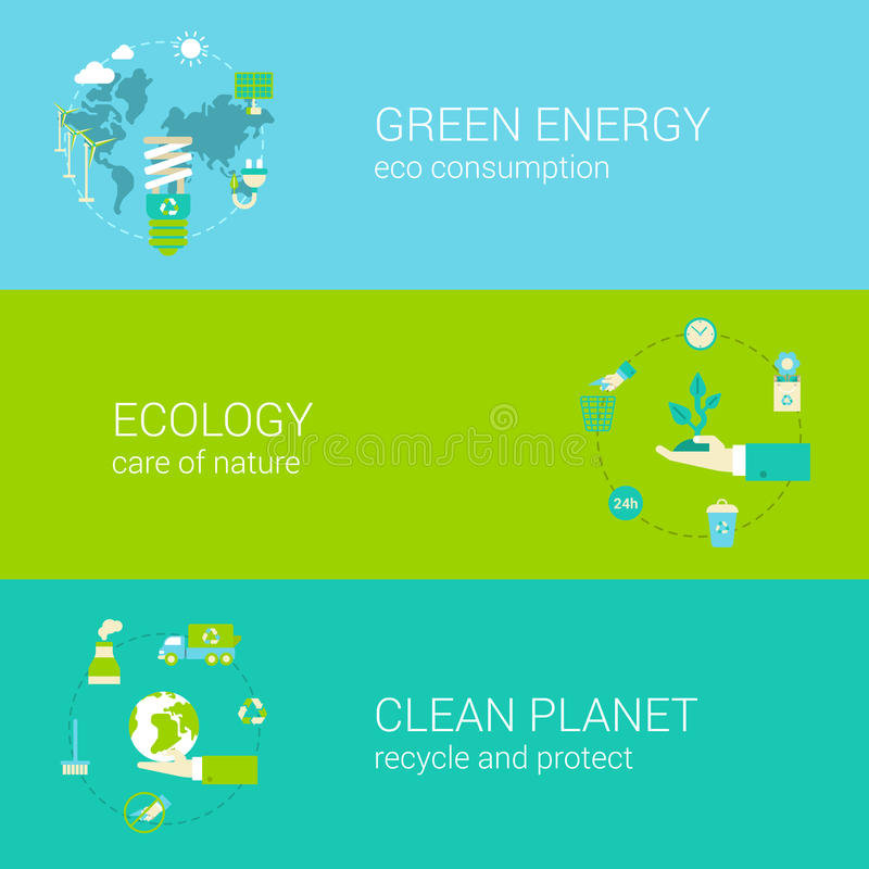 Green energy ecology eco clean planet flat web banners set stock illustration