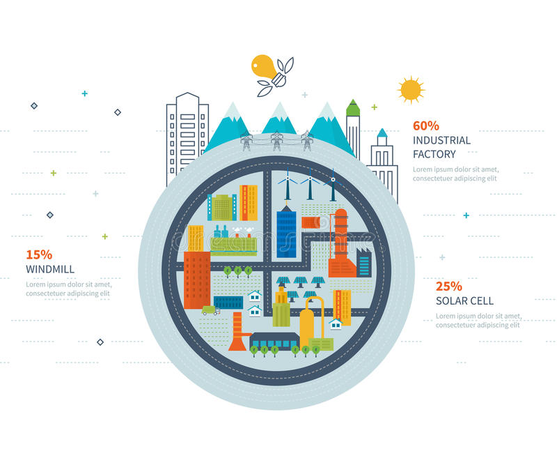 Green energy, ecology, eco, urban landscape and industrial factory buildings stock illustration