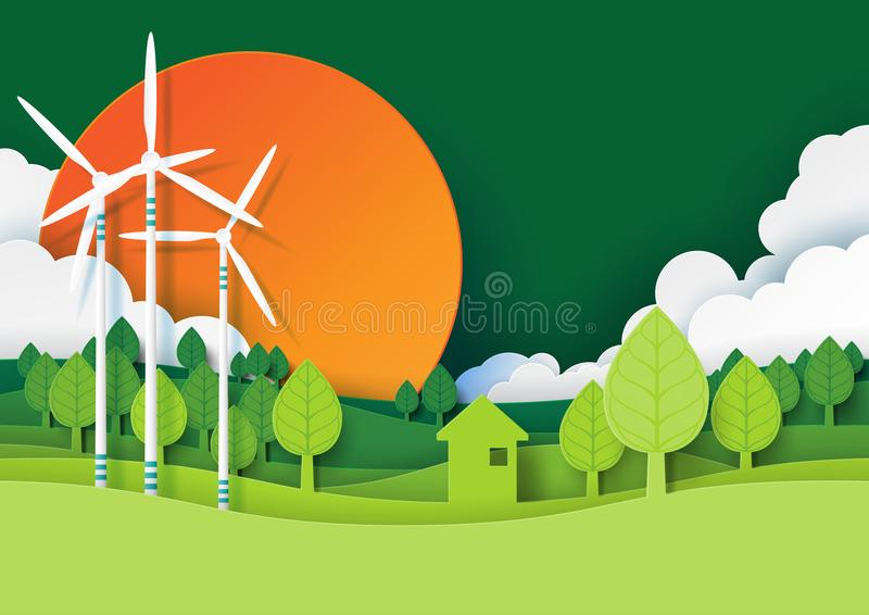 Green energy and environment concept paper art style. Ecology and environment conservation creative idea concept design.Eco green energy and nature landscape royalty free illustration