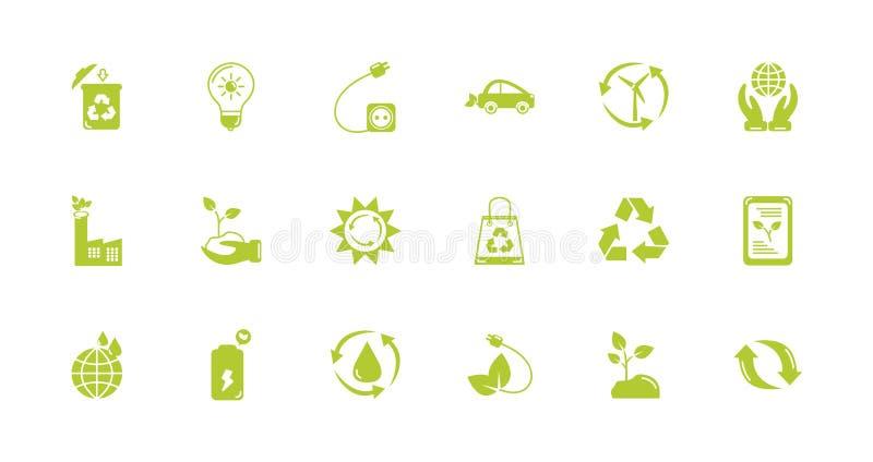 Green energy environment icons set flat style vector illustration