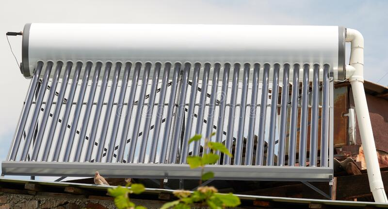 Green energy equipment - solar water heater royalty free stock photography