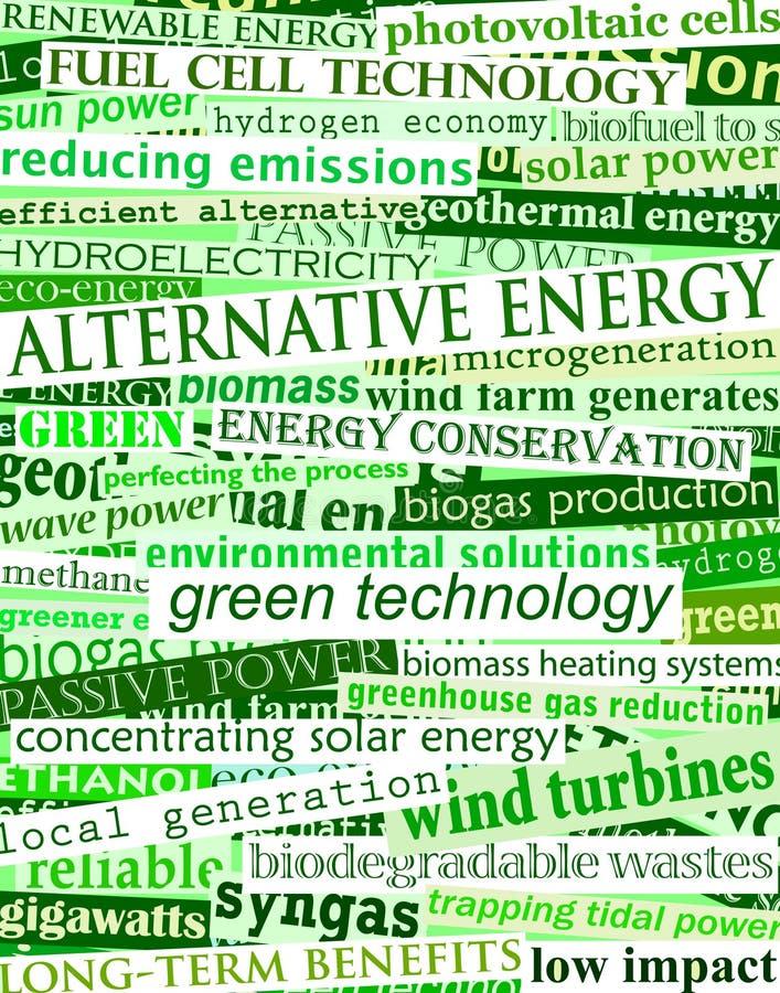 Green energy headlines. Background editable vector illustration of green headlines about alternative energy royalty free illustration