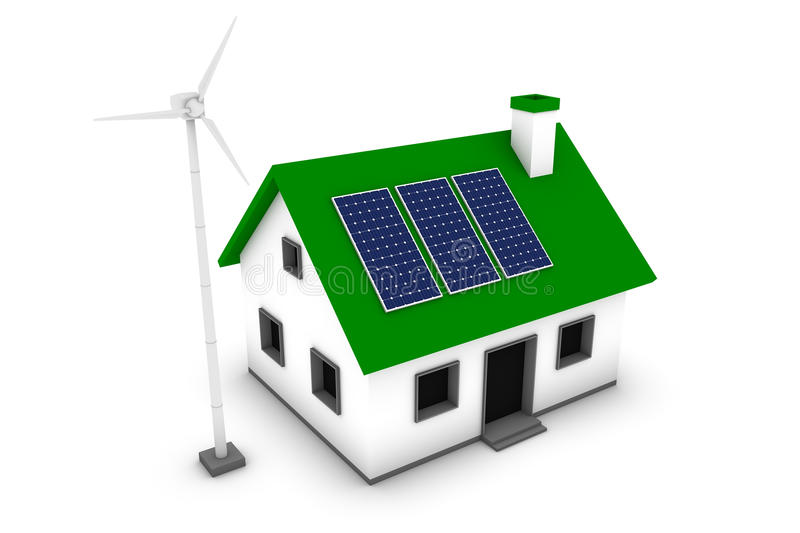 Download Green Energy House stock illustration. Image of panel - 11576628