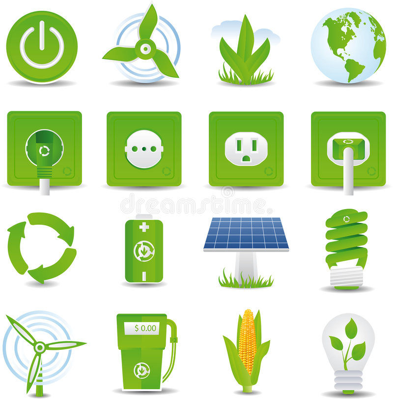 Download Green energy icon set stock vector. Illustration of electric - 9065431