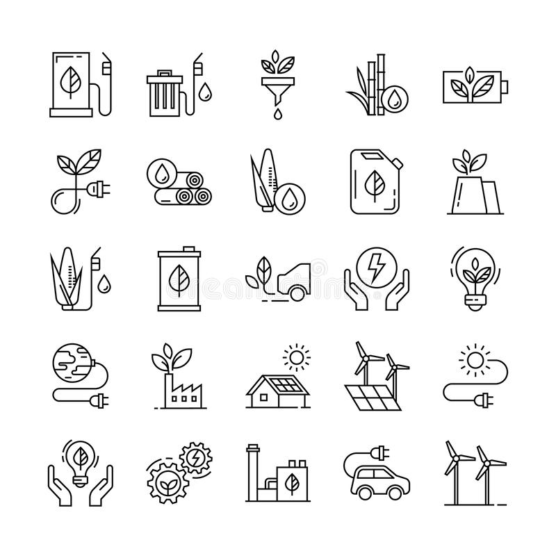 Green energy icon set in flat style. stock illustration