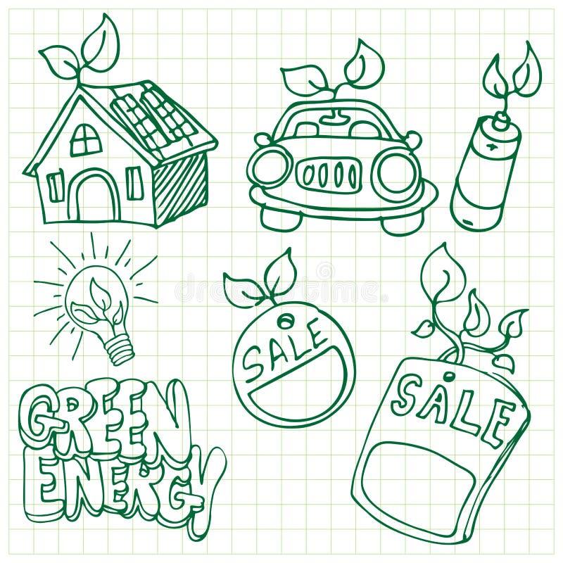 Green Energy Icons royalty free illustration