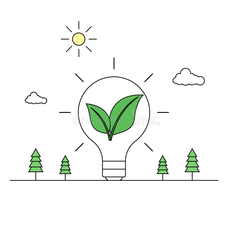 Green energy idea concept line drawing royalty free illustration