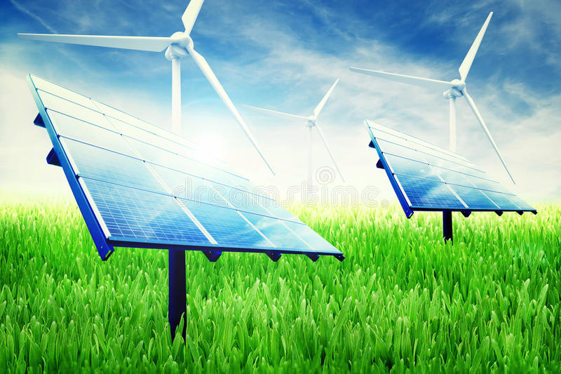 Green energy installation royalty free stock photography