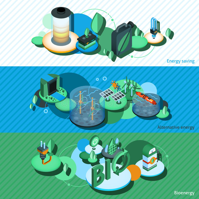 Green Energy Isometric Banners royalty free illustration
