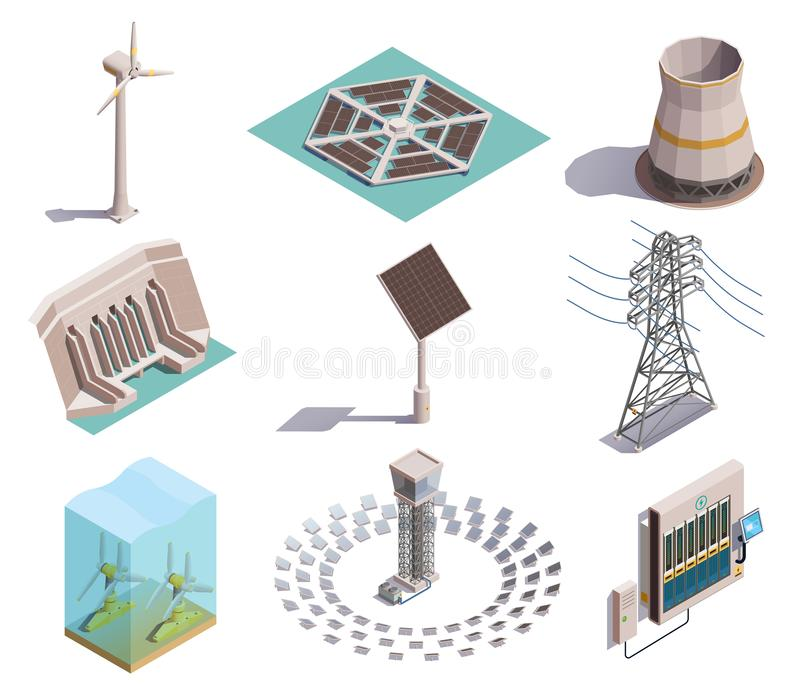 Green Energy Isometric Icons royalty free illustration