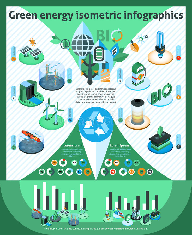 Green Energy Isometric Infographics stock illustration