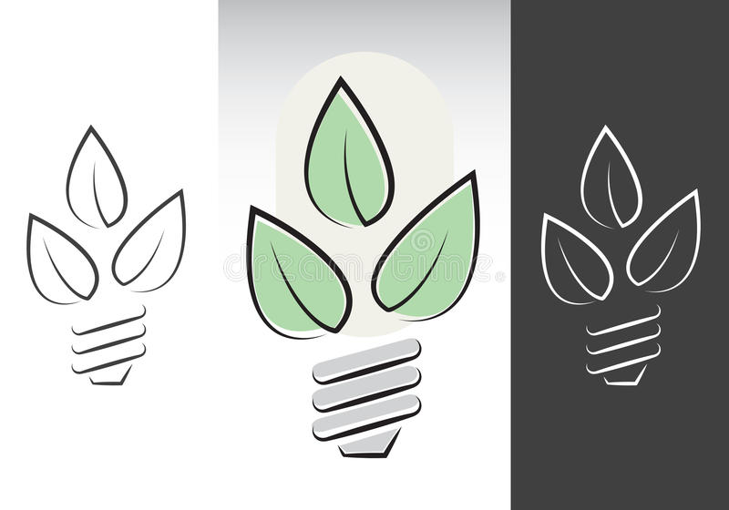Green energy light bulbs symbols royalty free illustration
