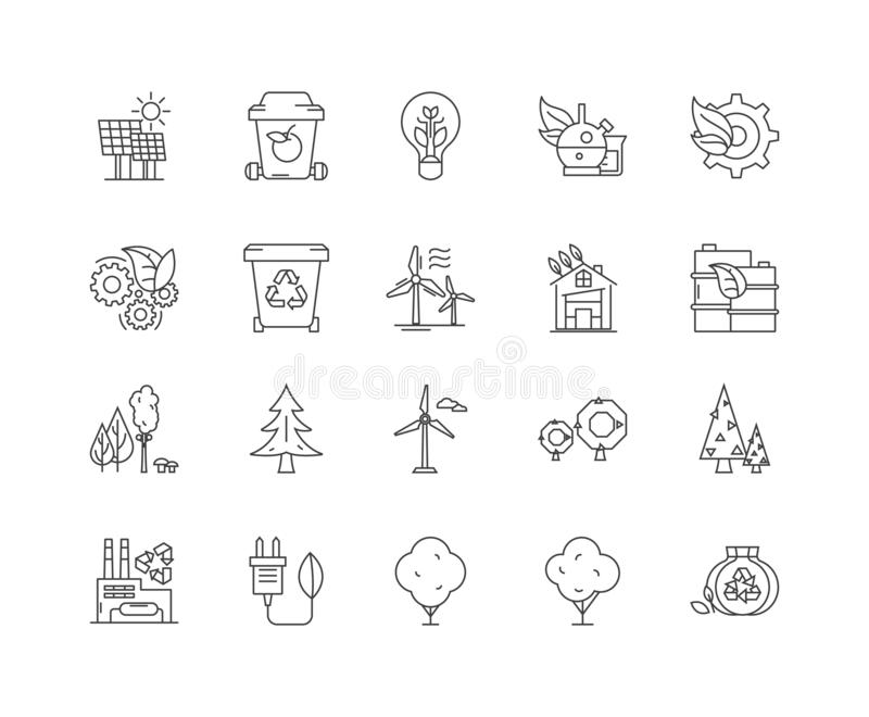 Green energy line icons, signs, vector set, outline illustration concept vector illustration