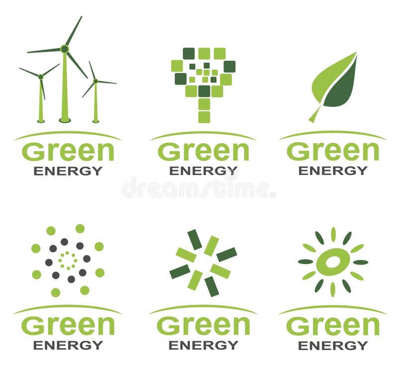 Green energy logo set. In two colours royalty free illustration
