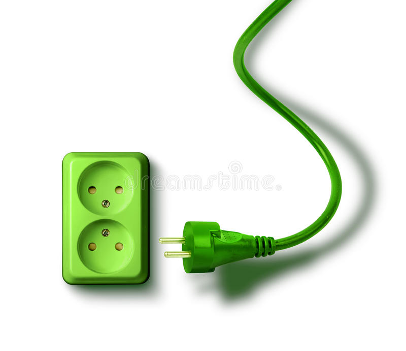 Green energy need concept wall socket royalty free stock photos