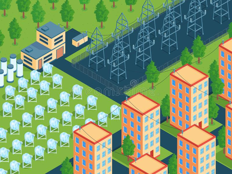 Green Energy Network Composition royalty free illustration