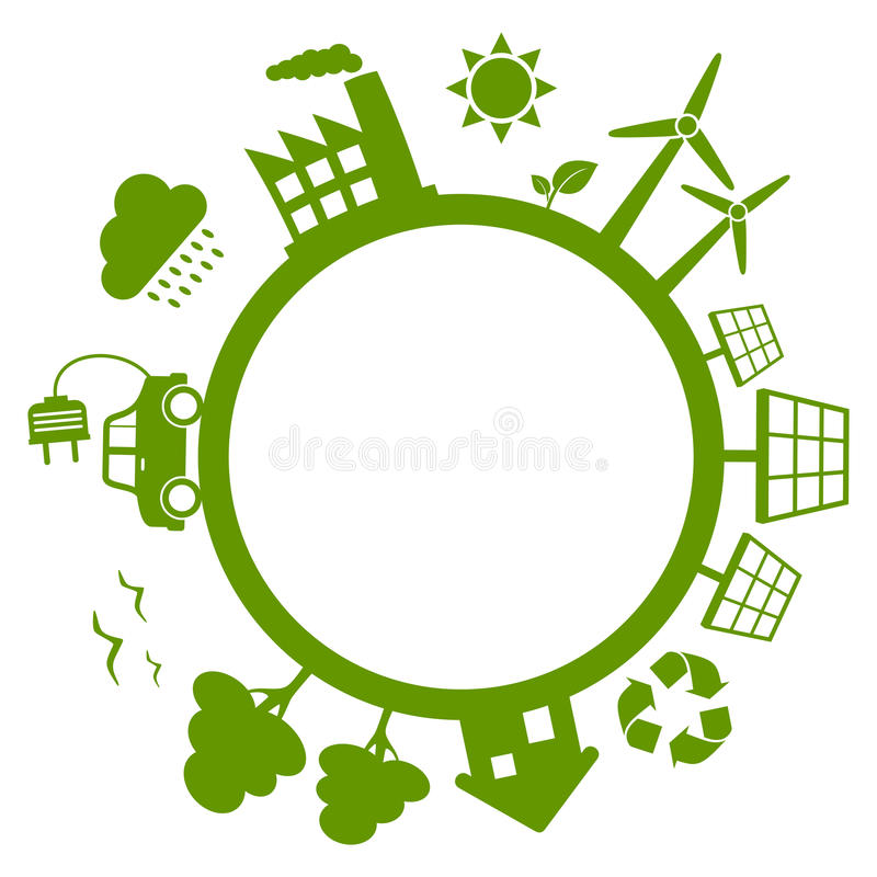Green Energy Planet Earth. Concept with wind turbines, solar panels, electric car, trees and recycle symbol. Eps file available