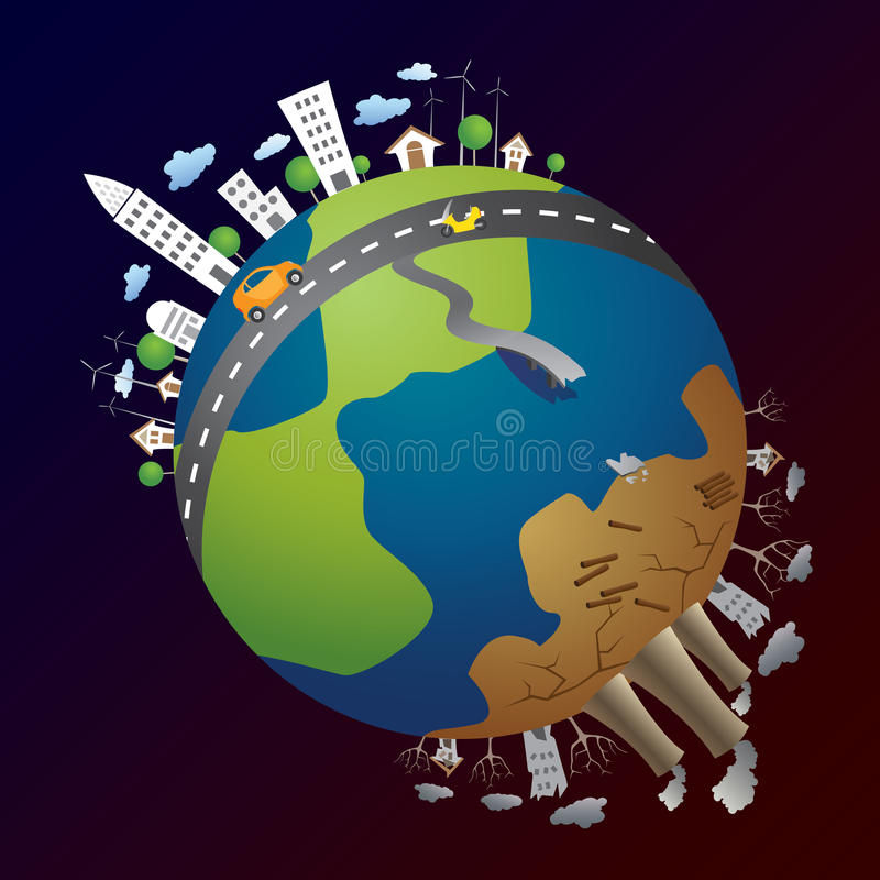Green energy and pollution stock images