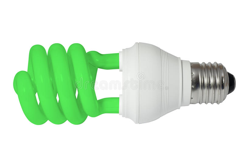 Green energy saving fluorescent light bulb (CFL). Isolated on white background with clipping path. Energy saving lighting concept stock photos