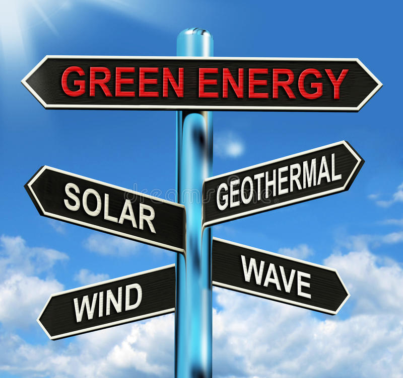 Green Energy Signpost Means Solar Wind Geothermal And Wave. Green Energy Signpost Meaning Solar Wind Geothermal And Wave vector illustration