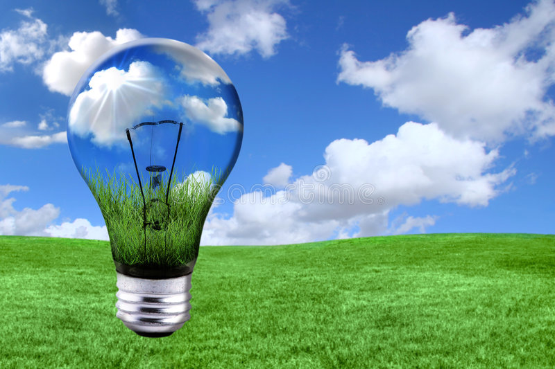 Green Energy Solutions With Light Bulb Morphed Int royalty free stock photography
