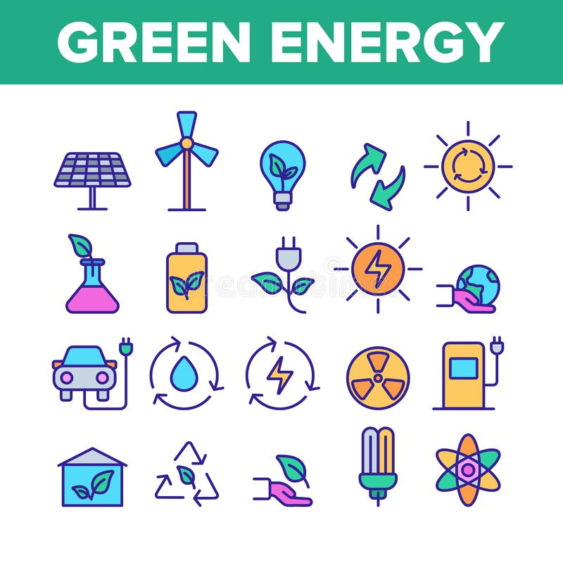 Green Energy Sources Vector Linear Icons Set royalty free illustration