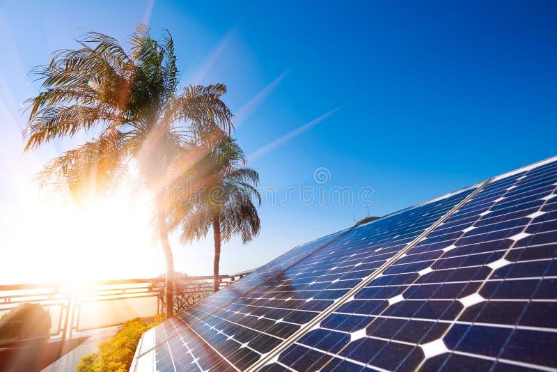 Solar energy power generator for sustainable development stock image