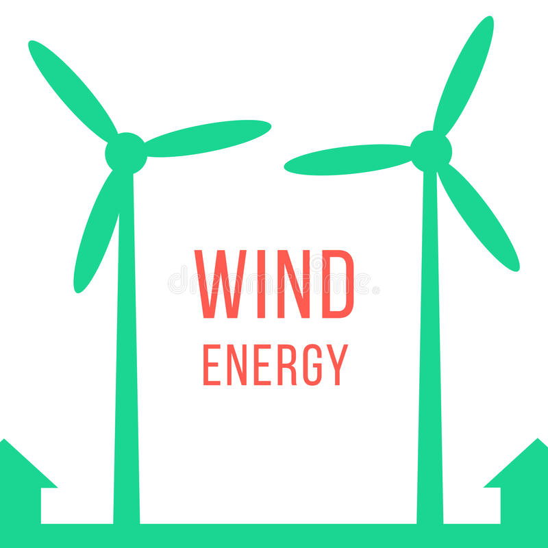 Green energy with two wind motors. Concept of renewables, world of tomorrow, eco-friendly, economy and recycled. isolated on white background. flat style royalty free illustration