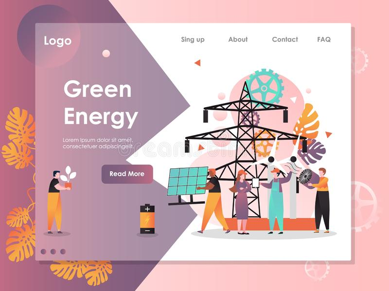 Green energy vector website landing page design template. Green energy vector website template, web page and landing page design for website and mobile site vector illustration