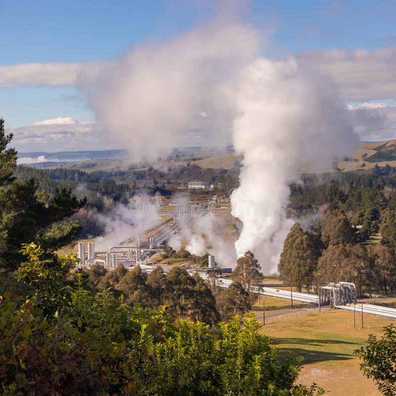 Green energy -  Wairakei geothermal power plant pipeline steam, New Zealand.  royalty free stock photo