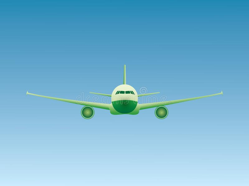 A green environment friendly jet airplane flying in the sky stock illustration
