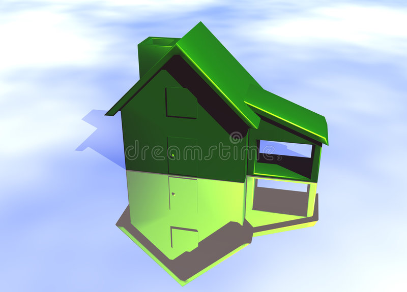 Green Environmental House Model. Green House Model on Blue-Sky Background with Reflection Concept Eco Living royalty free illustration