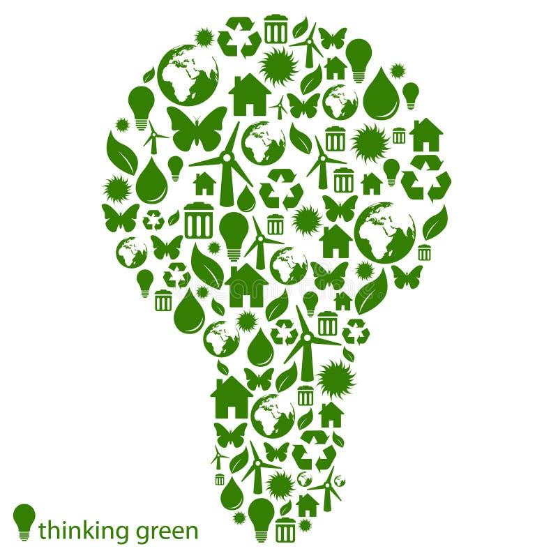 Green environmental light bulb vector illustration