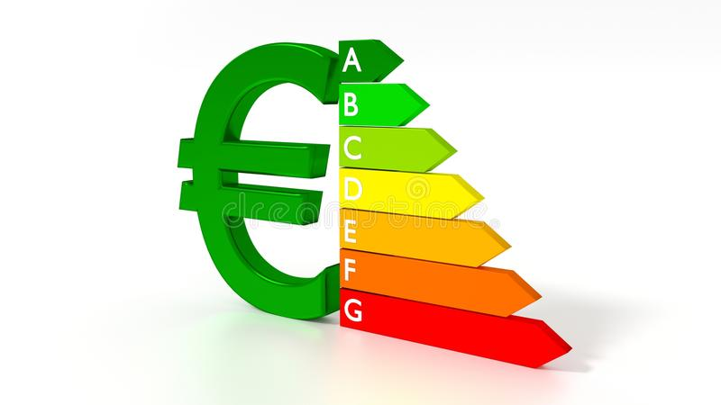 Green euro symbol next to an energy efficiency graph stock illustration