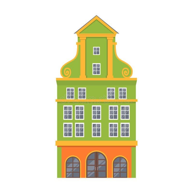 Green European style classic building facade. vector illustration