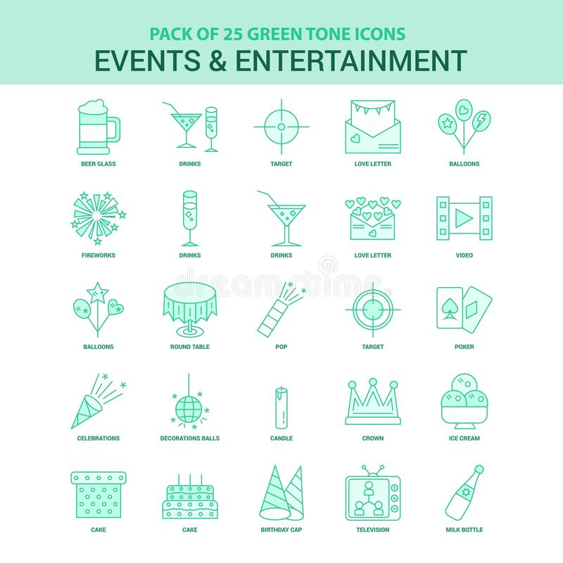 25 Green Events and Entertainment Icon set. This Vector EPS 10 illustration is best for print media, web design, application design user interface and royalty free illustration