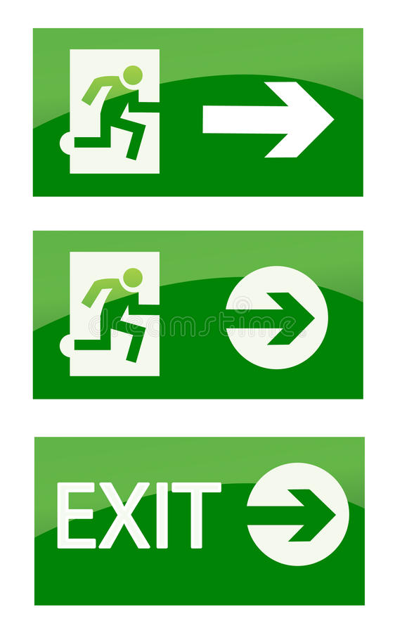 Green exit emergency sign vector illustration
