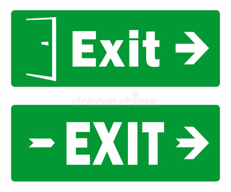 Green Exit Sign Template Designs - Emergency Exit - Pack of Two Vectors vector illustration