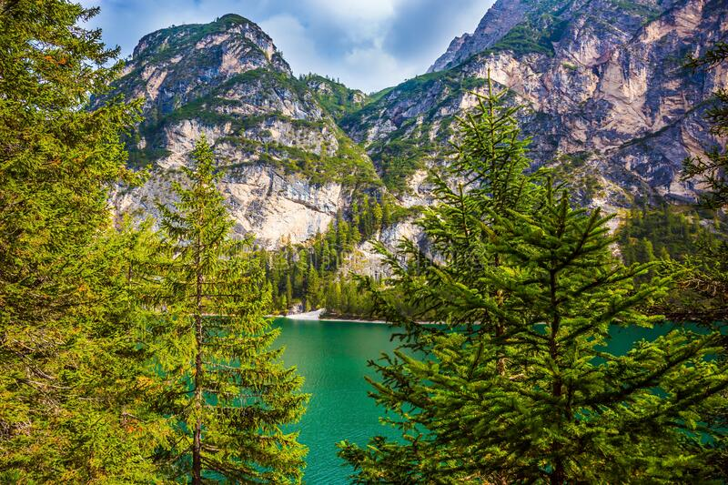 Green expanse of water. Beautiful lake Lago di Braies, South Tyrol, Italy. The concept of walking and eco-tourism. Green expanse of water stock photos