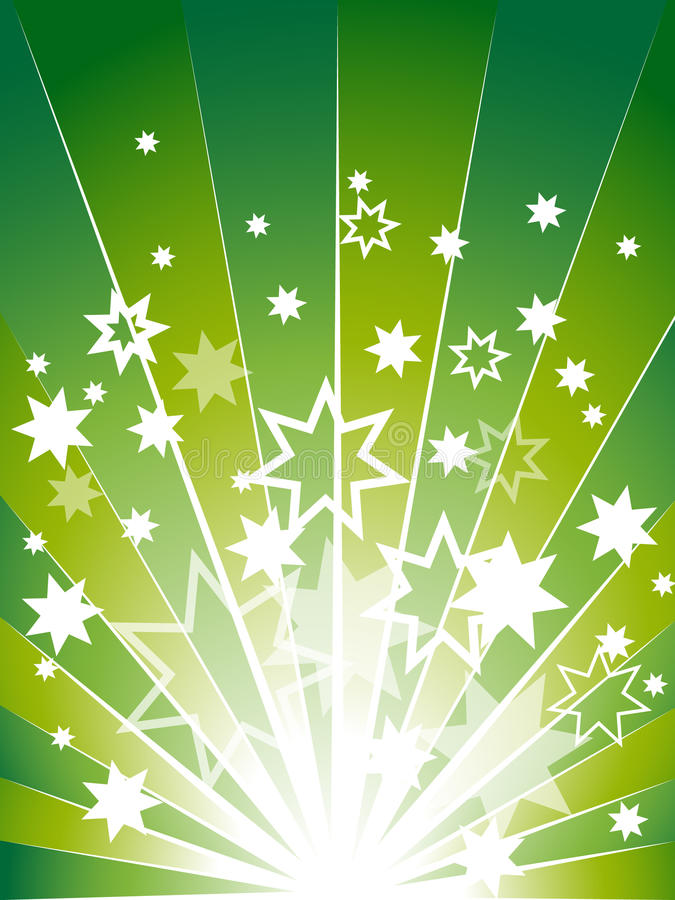 Green explosion background with many stars royalty free illustration