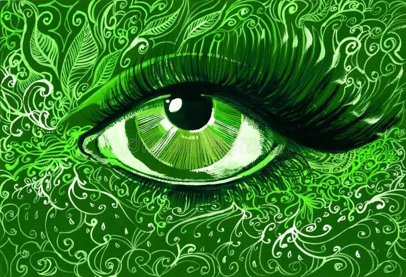 Download Green eye stock illustration. Image of glamour, leaf - 22423533