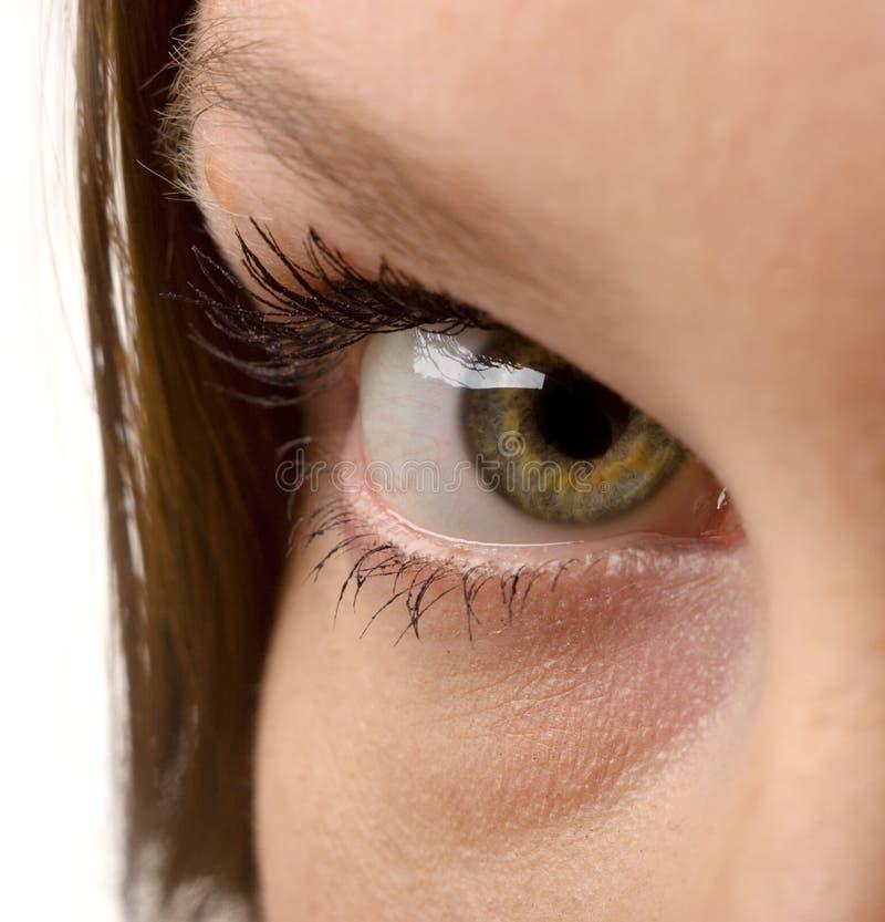 Green eye. Beautiful woman eye close-up shot stock photography
