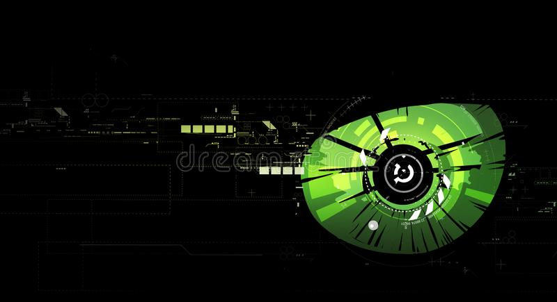 Green eye abstract technology background royalty free stock photos