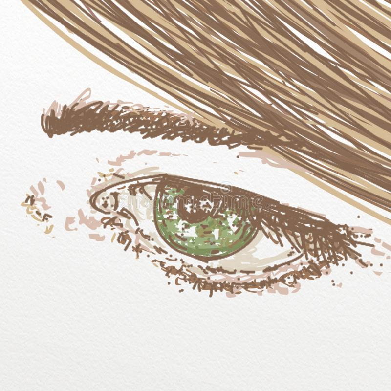 Green eye for cosmetics,makeup stock illustration