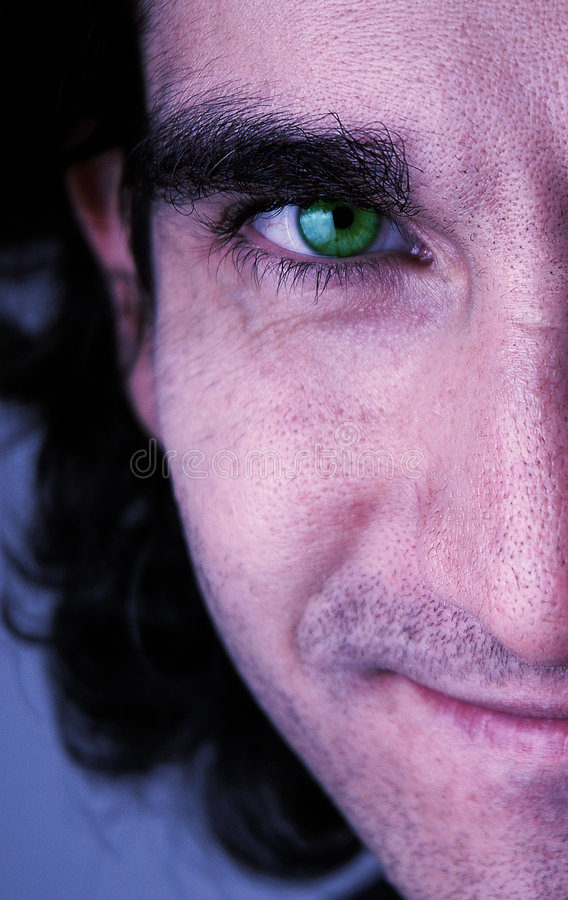 Green eye face stock photo