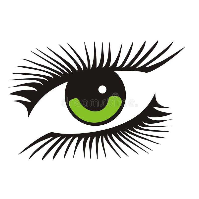 Green eye with long lashes. Vector green eye with long lashes